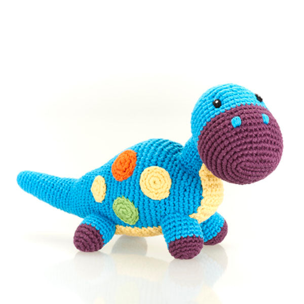 Blue Dino -  Fair Trade Knitted Baby Rattle,Pebble  - Wild Dill