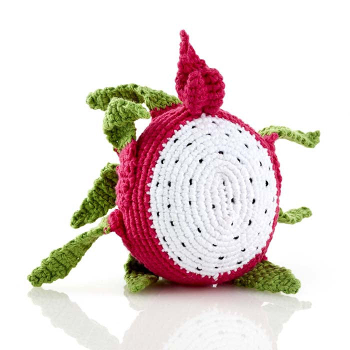 Dragon Fruit Fair Trade Knitted Baby Rattle,Pebble  - Wild Dill