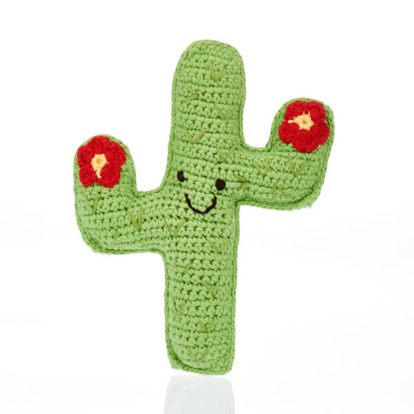 Cactus Knitted Baby Rattle - Fair Trade,Pebble  - Wild Dill
