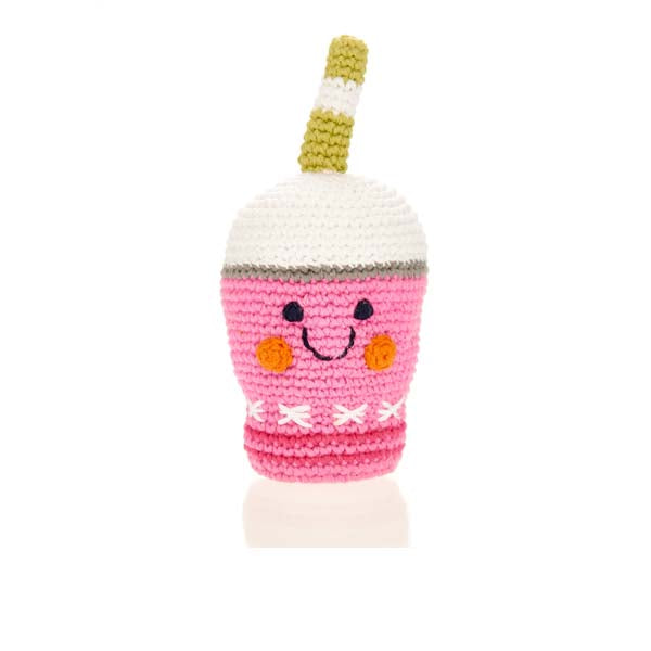 Pink Smoothie - Fair Trade Knitted Baby Rattle,Pebble  - Wild Dill
