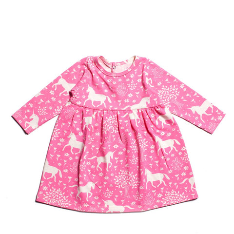 Mia Pink Unicorn Dress by Winter Water Factory