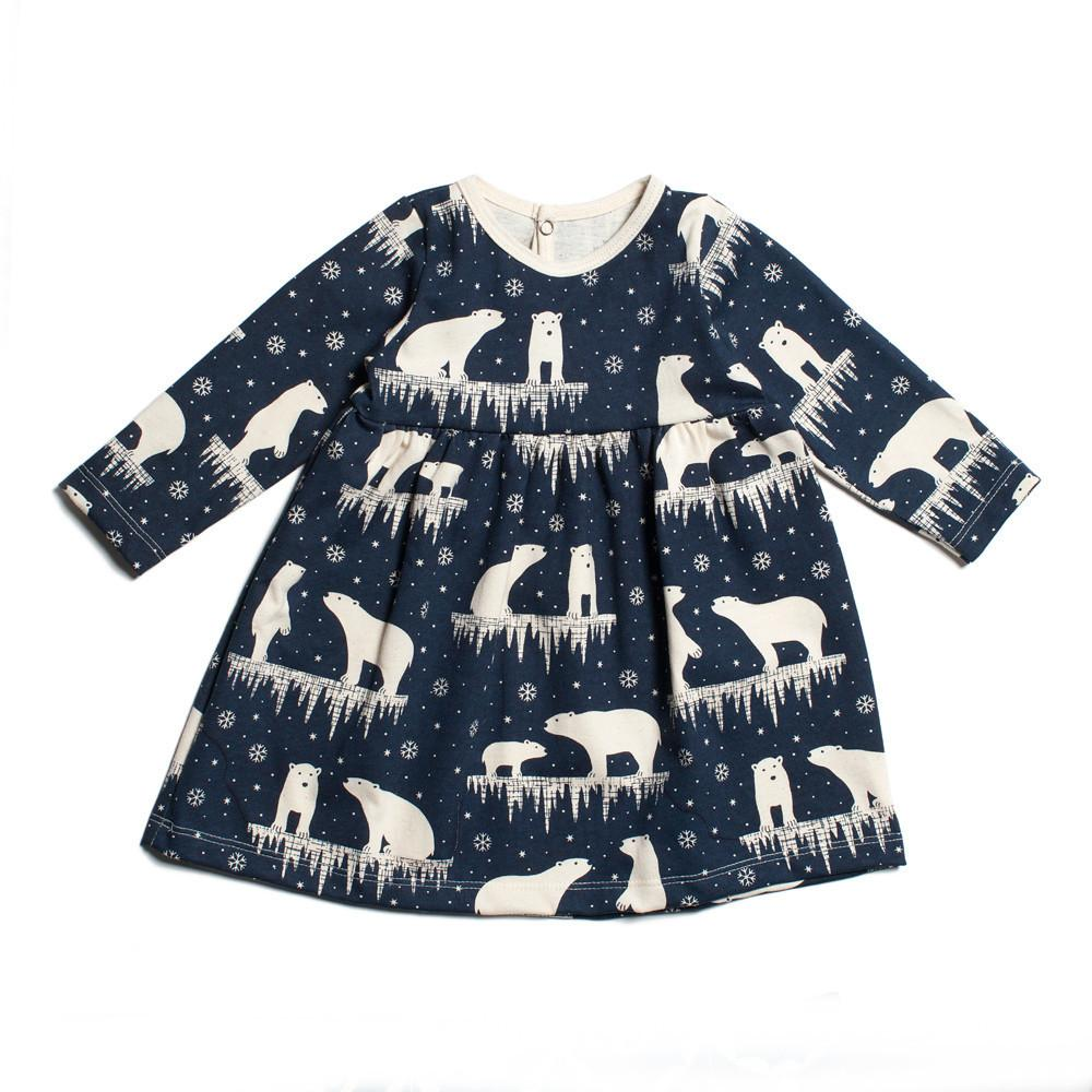 Navy Blue Polar Bear Baby Dress