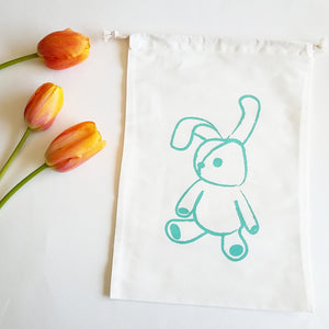 Smockbox Bunny Cotton Drawstring Bag,Smockbox  - Wild Dill
