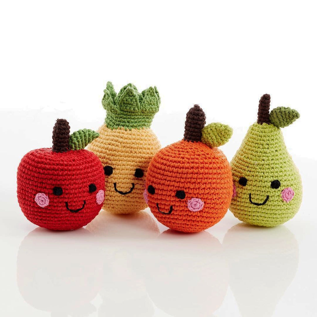 Smiling Fruit Gift Set - 4 Fair Trade Knitted Baby Rattles