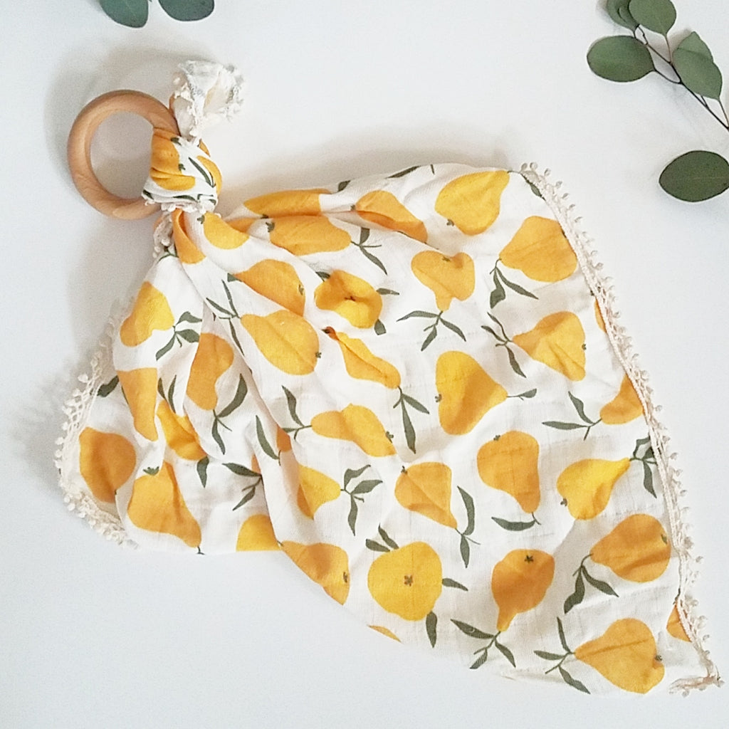 Pear print - Organic Muslin Lovey with Teething Ring