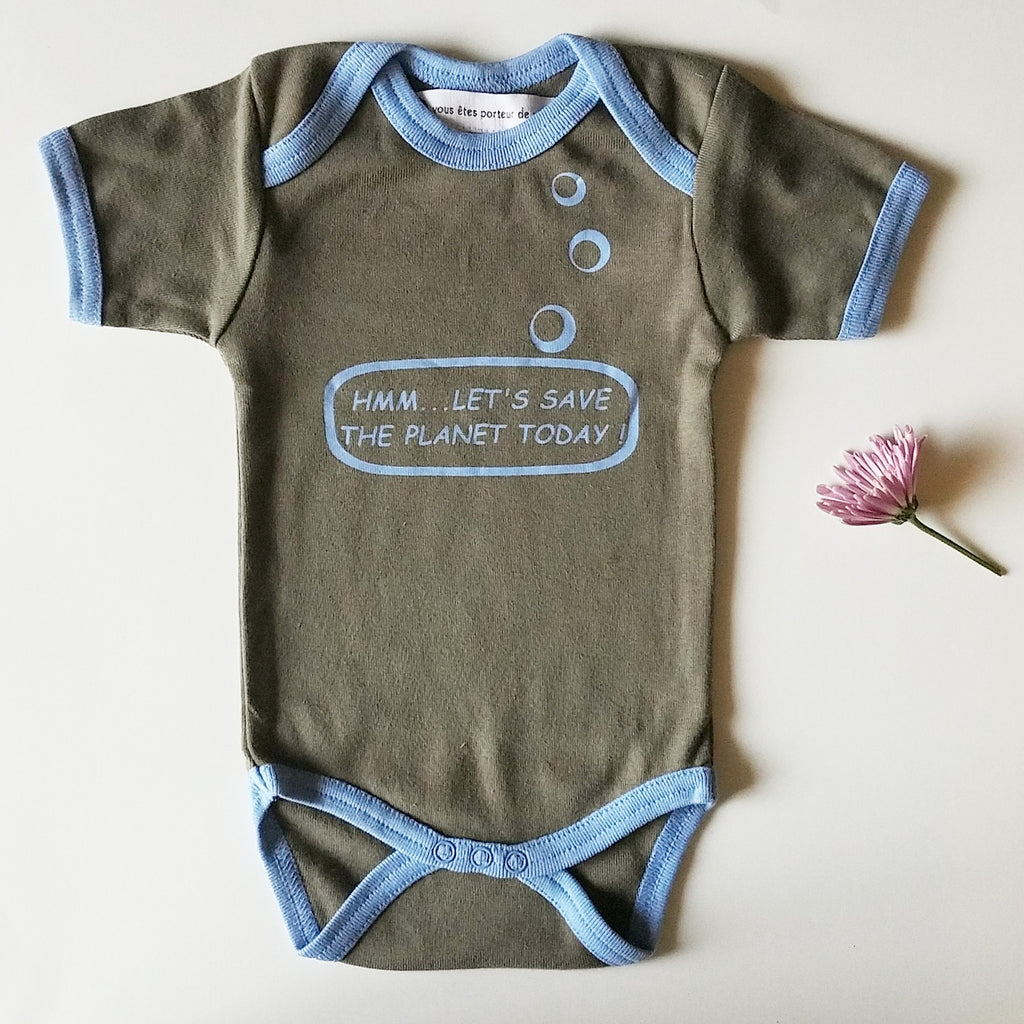 Ideo Let's Save the Planet Brown Organic Onesie,Ideo  - Wild Dill