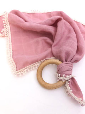 Blush Pink -  Organic Muslin Lovey with Teething Ring,Pretty Please Boutique  - Wild Dill