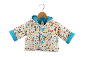 Mezoome Organic Cotton Fall Hooded Coat turquoise blue / 12-18m, Toddler Wear - Mezoome Designs, Wild Dill  - 3