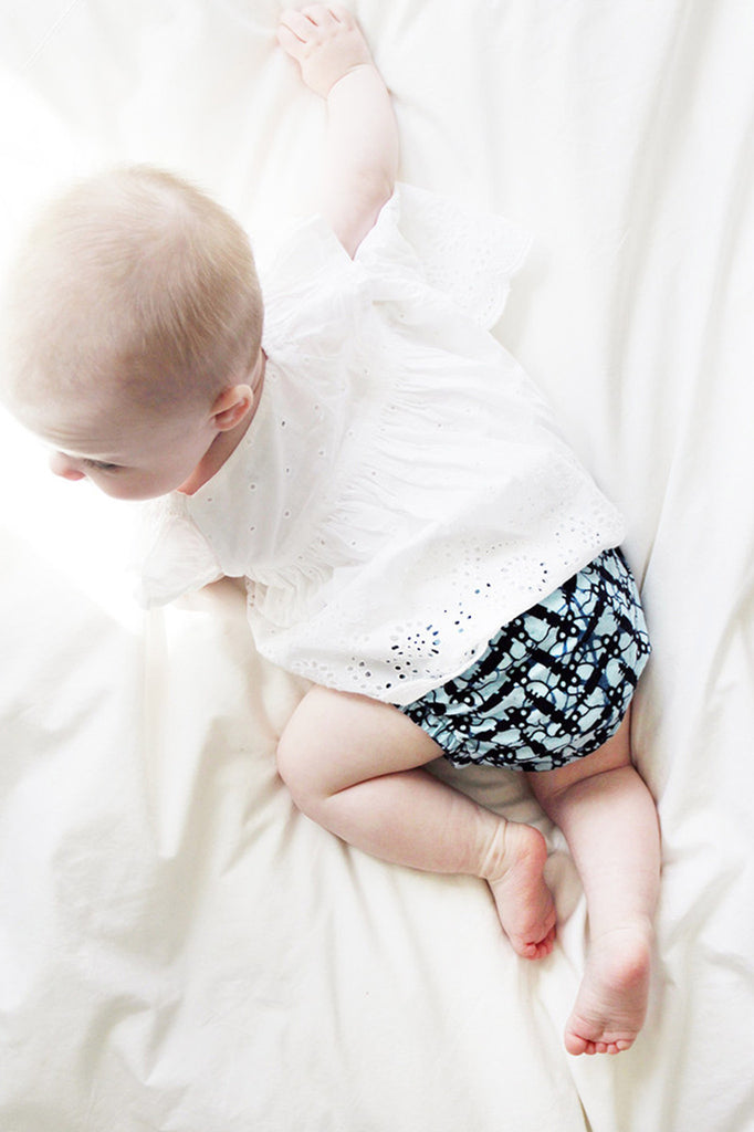 African Print Bue Pattern Baby Bloomers , Baby Wear - Indego Africa, Wild Dill  - 2