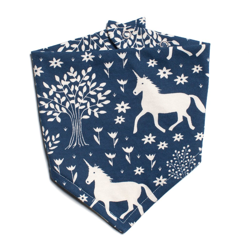 Blue Unicorn Kerchief Bib,Winter Water Factory  - Wild Dill