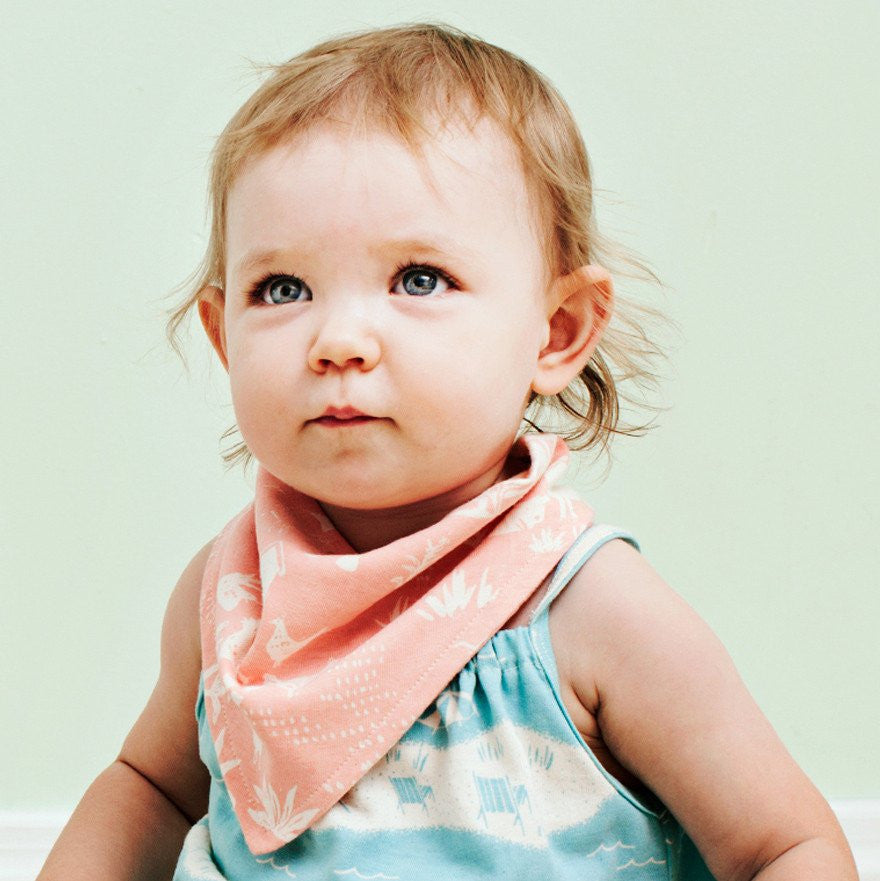Turquoise Beach Day Kerchief Bib by Winter Water Factory