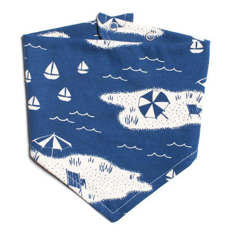 Grey-Blue Farm Next Door Kerchief Bib by Winter Water Factory