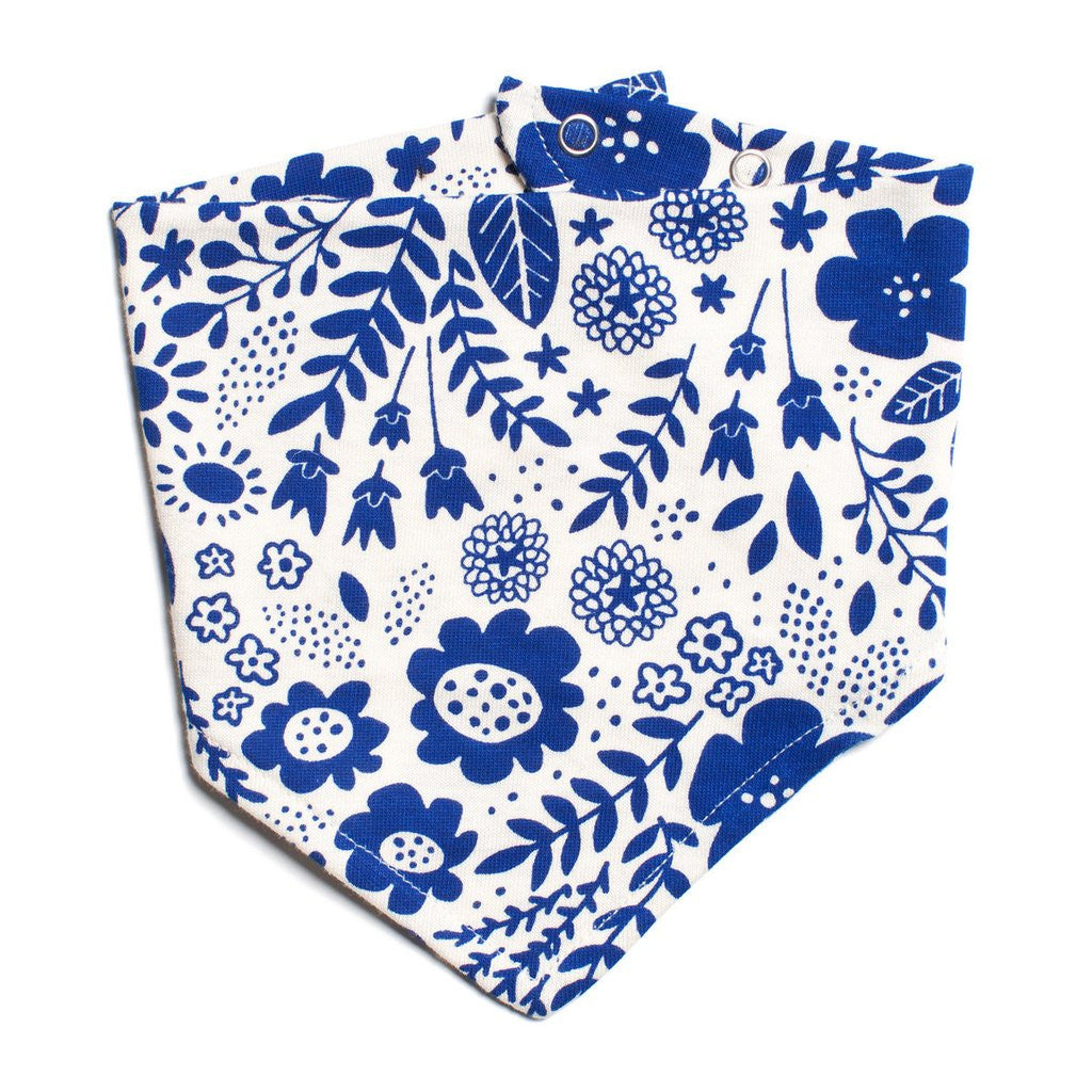 Blue Wildflowers Kerchief Bib by Winter Water Factory