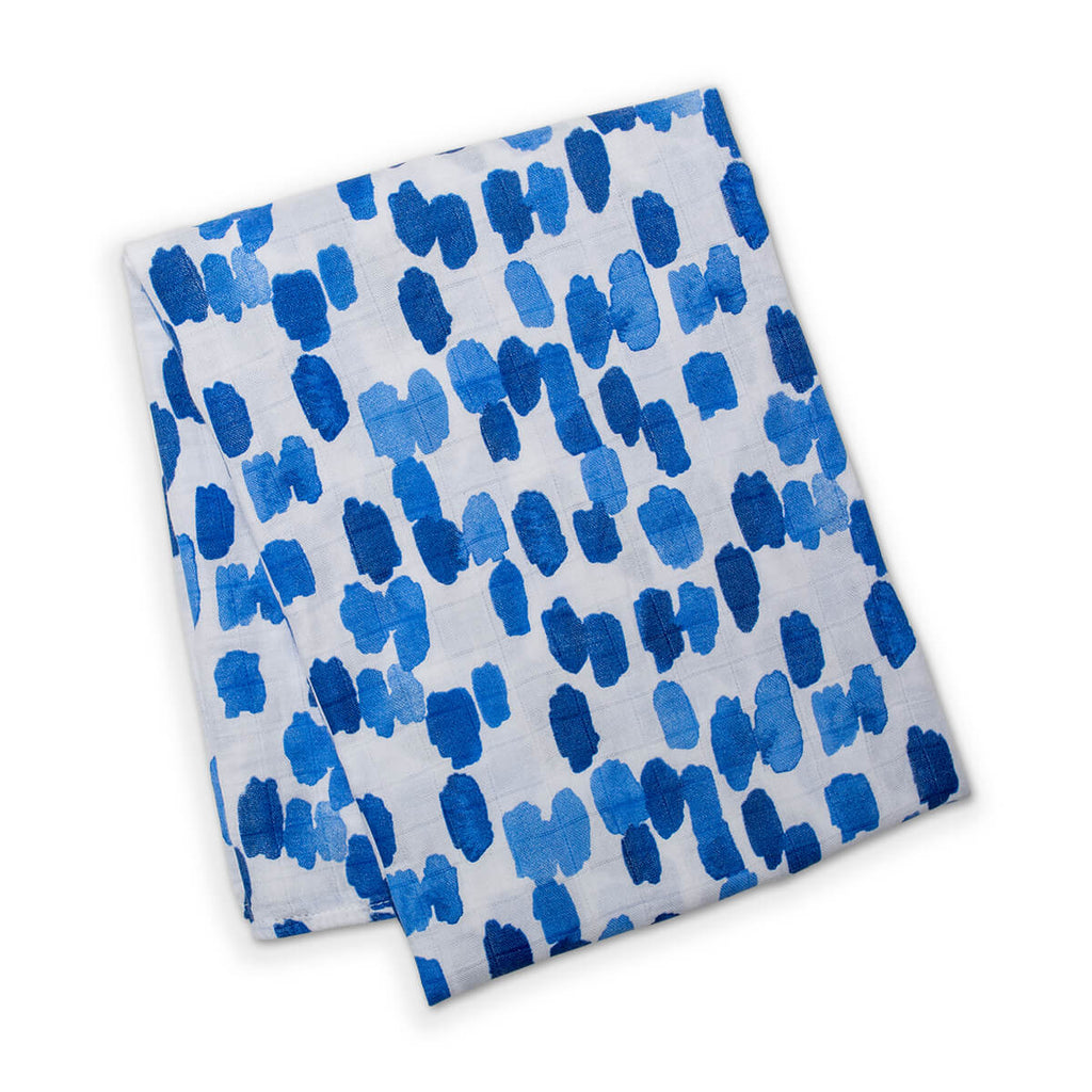 Watercolor Dashes - Blue Bamboo Swaddle Blanket,Lulujo Baby  - Wild Dill