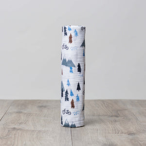 Watercolor Mountain Top Cotton Swaddle Blanket,Lulujo Baby  - Wild Dill