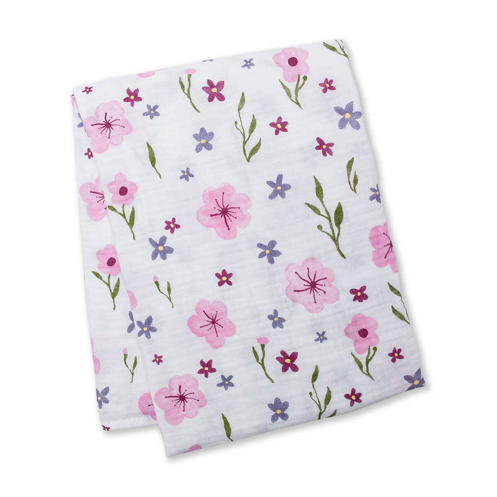 Watercolor Floral Cotton Swaddle Blanket,Lulujo Baby  - Wild Dill