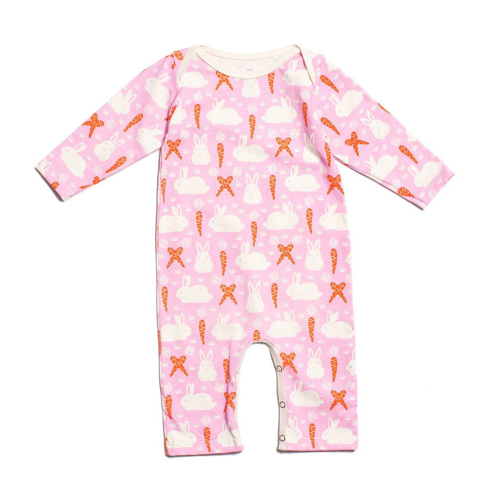 Pink Bunnies & Carrots Organic Jumpsuit , Baby Wear - Winter Water Factory, Wild Dill