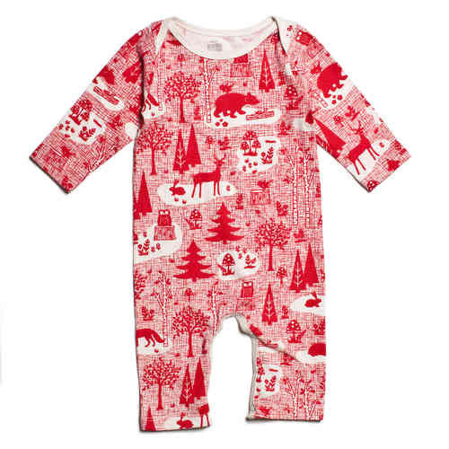 Organic Cotton Red Forest Winter Romper , Baby Wear - Winter Water Factory, Wild Dill