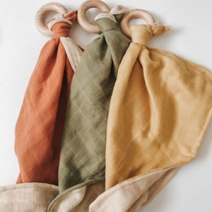 Rust Autumn Lovey - Muslin Lovey with Teething Ring