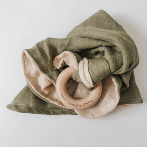 Olive Autumn Lovey - Muslin Lovey with Teething Ring