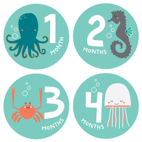 Under the Sea Monthly Milestone Stickers , milestone stickers - Lucy Darling, Wild Dill  - 1