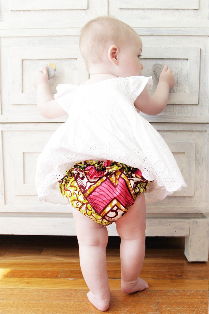 African Print Ruffle Baby Bloomers , Baby Wear - Indego Africa, Wild Dill  - 2