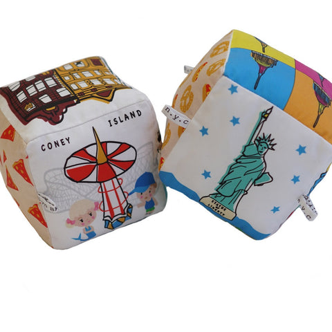 The New Yorker (Set of 2) - Organic Cotton Play Block , Play - Globe Totters, Wild Dill  - 1