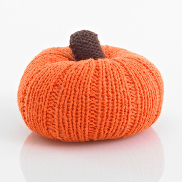 Pumpkin Fair Trade Knitted Baby Rattle , Play - Pebble, Wild Dill