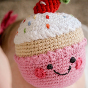 Strawberry Birthday Cupcake -  Fair Trade Knitted Baby Rattle,Pebble  - Wild Dill