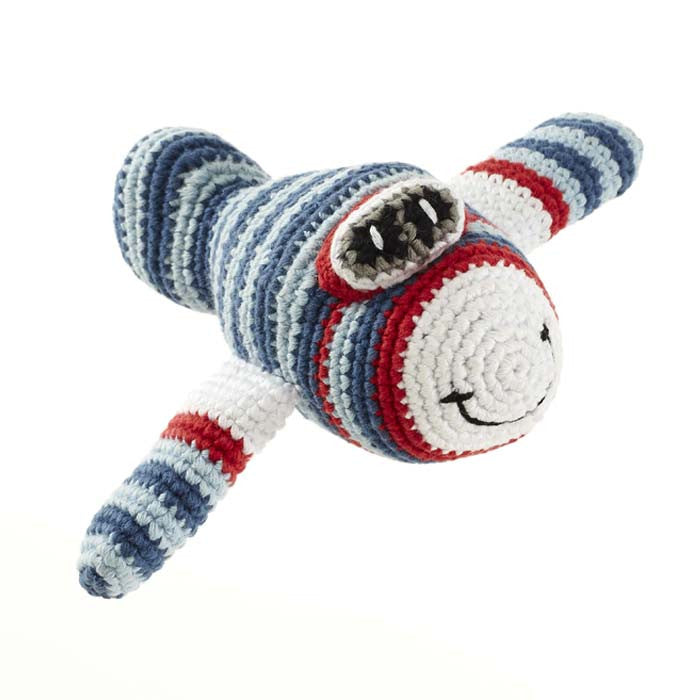 Blue Airplane Fair Trade Knitted Baby Rattle , Play - Pebble, Wild Dill