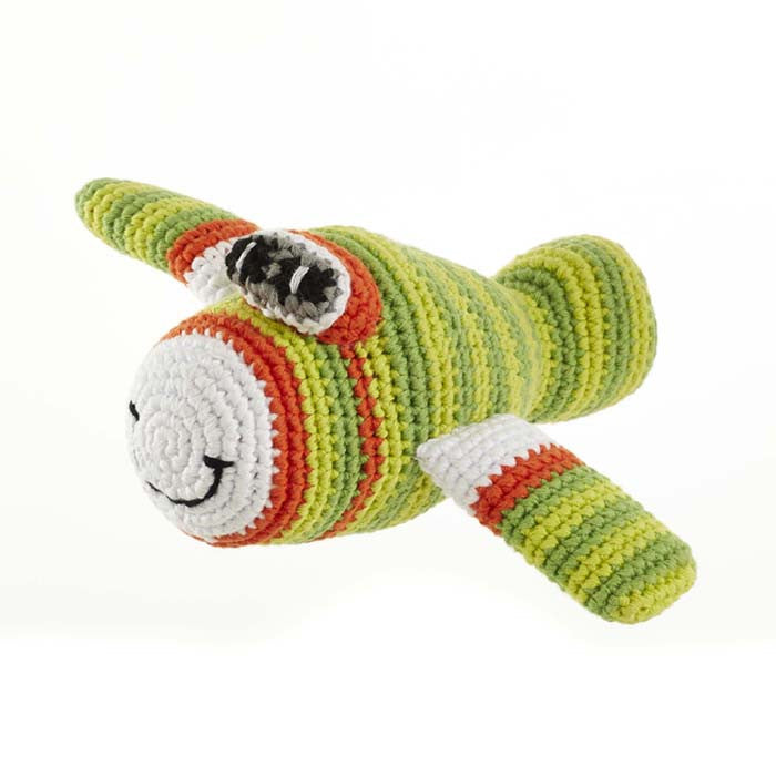 Green Airplane Fair Trade Knitted Baby Rattle,Pebble  - Wild Dill