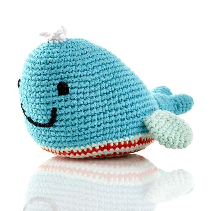 Whale Fair Trade Knitted Baby Rattle,Pebble  - Wild Dill