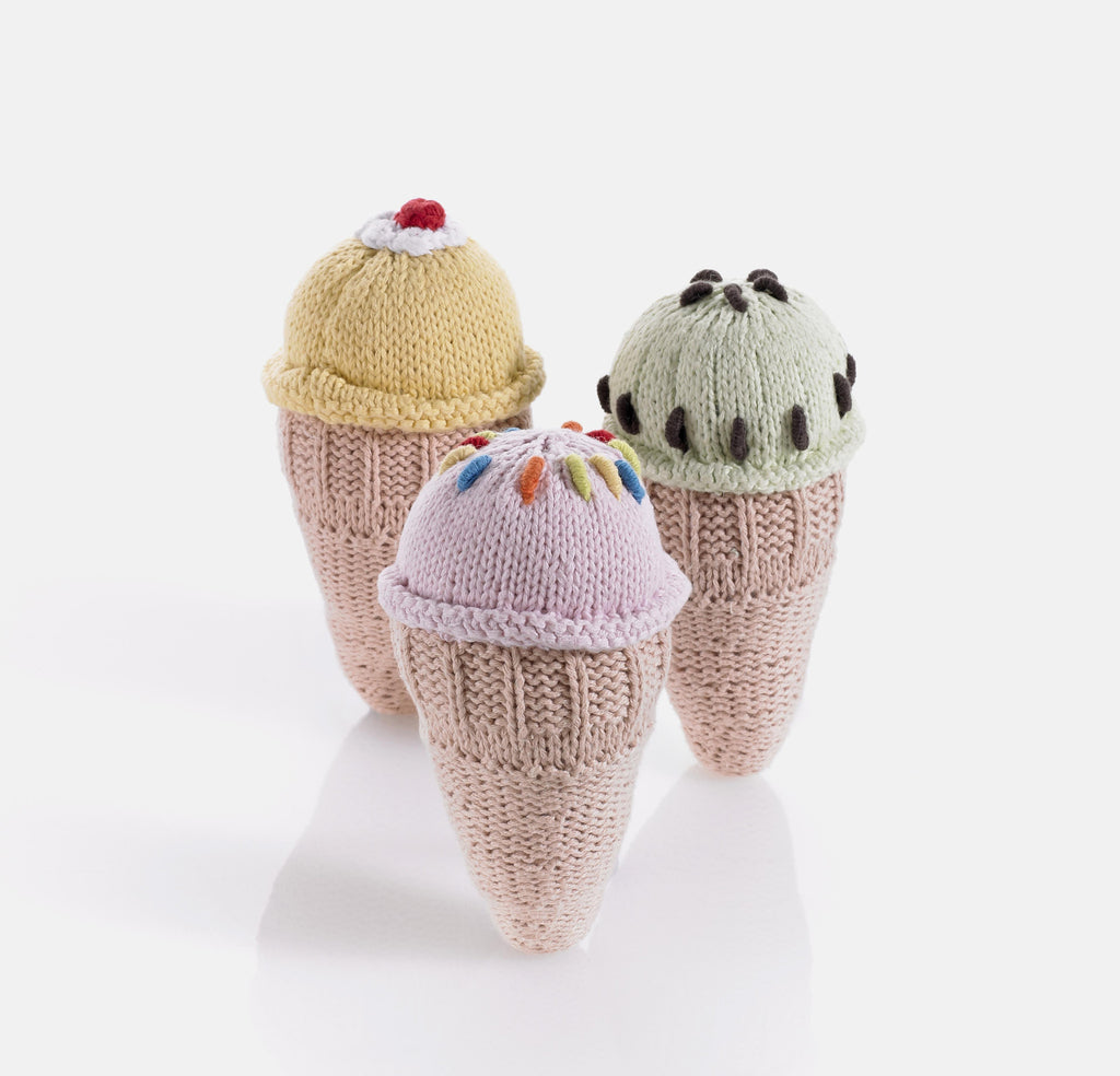 Ice Cream Cone Knitted Baby Rattles , Play - Pebble, Wild Dill  - 1