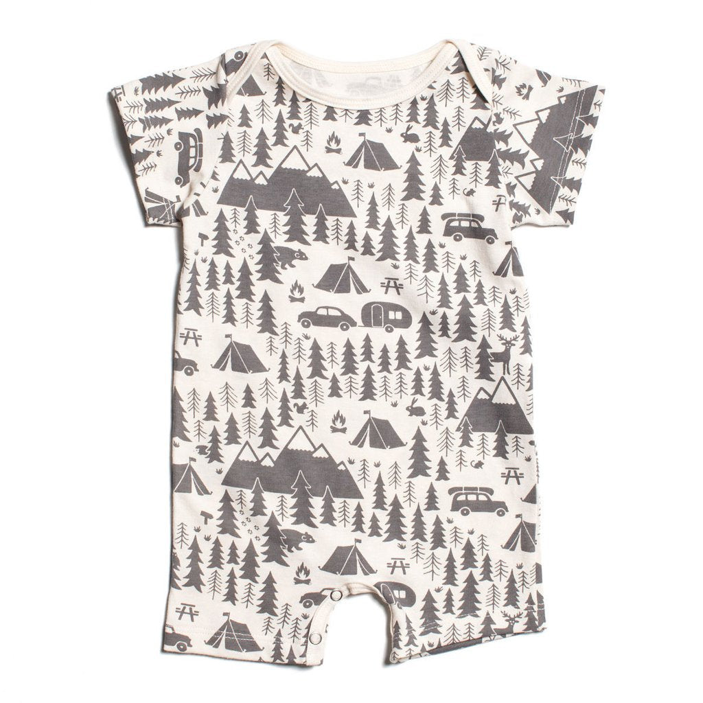 Grey Campsite Organic Summer Romper by Winter Water Factory,Winter Water Factory  - Wild Dill