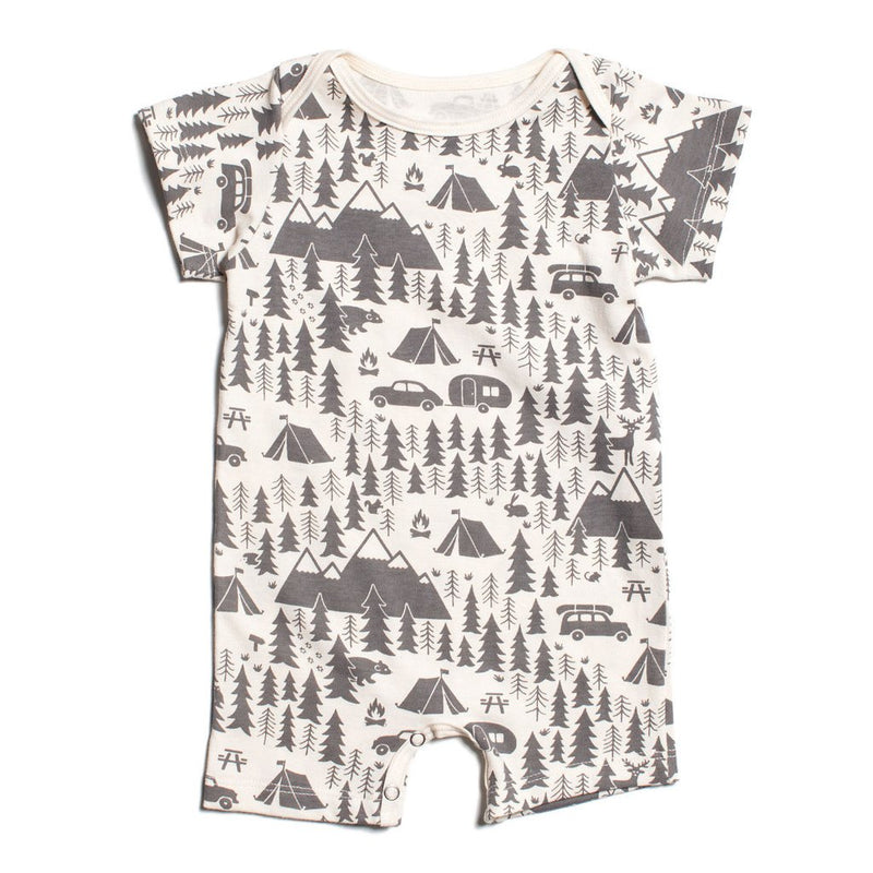 Grey Campsite Organic Summer Romper by Winter Water Factory