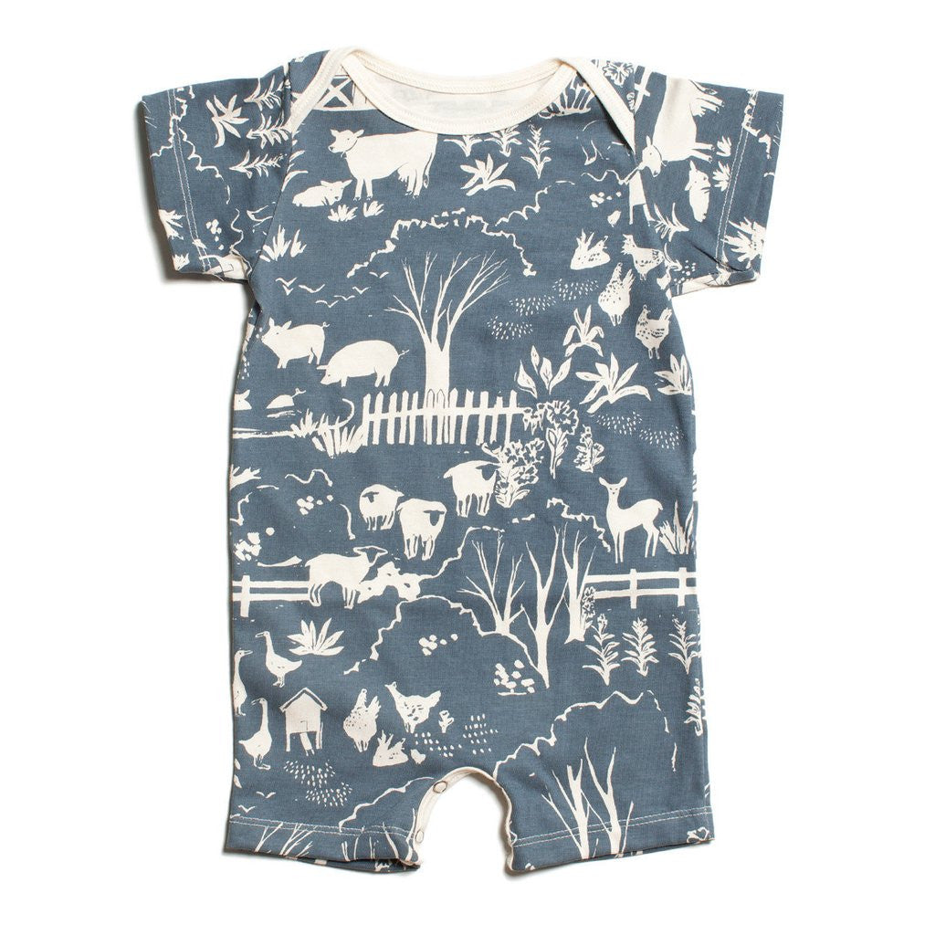 "Blue ""Farm Next Door"" Organic Romper by Winter Water Factory,Winter Water Factory  - Wild Dill"