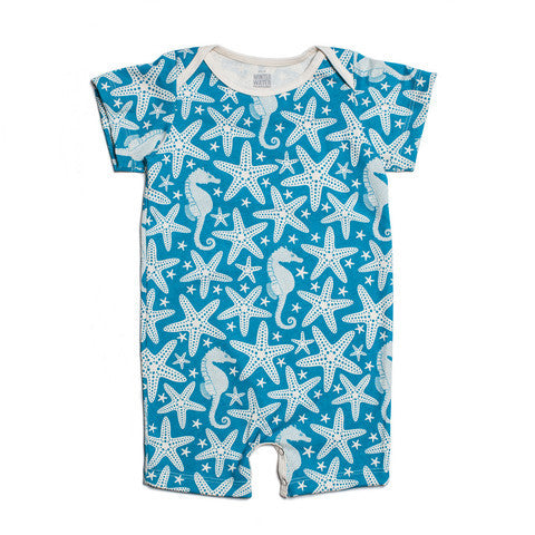 Organic Cotton Summer Romper - Turquoise Starfish & Seahorse Print 3m, Baby Wear - Winter Water Factory, Wild Dill