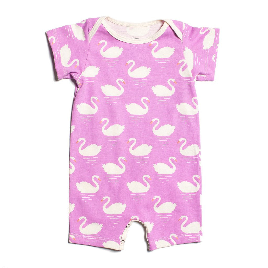 Pink Swans Organic Romper by Winter Water Factory,Winter Water Factory  - Wild Dill