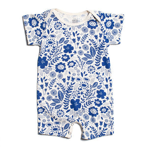 Blue Wildflowers Organic Romper by Winter Water Factory,Winter Water Factory  - Wild Dill