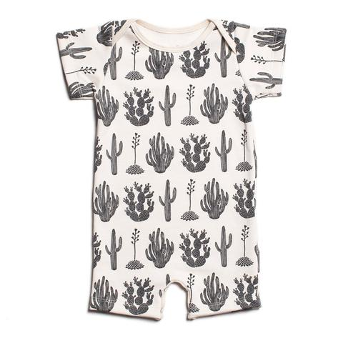 Black Cactus Summer Organic Romper by Winter Water Factory