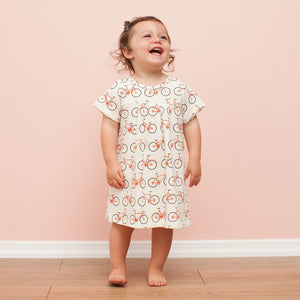 Winter Water Factory Orange Bicycles Florence Baby Dress,Winter Water Factory  - Wild Dill