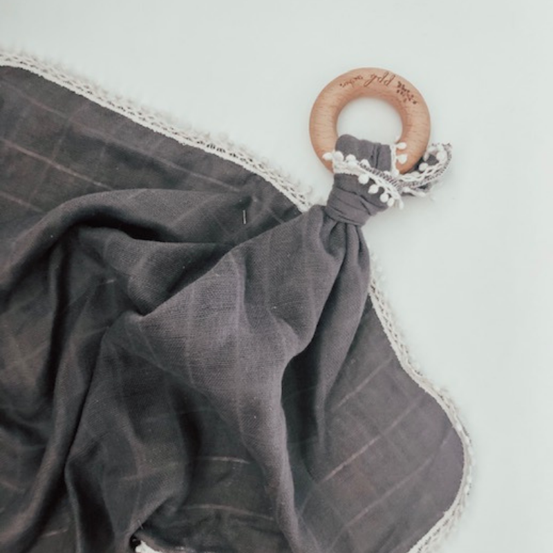 Charcoal Gauze Lovey with Teething Ring,Pretty Please Boutique  - Wild Dill