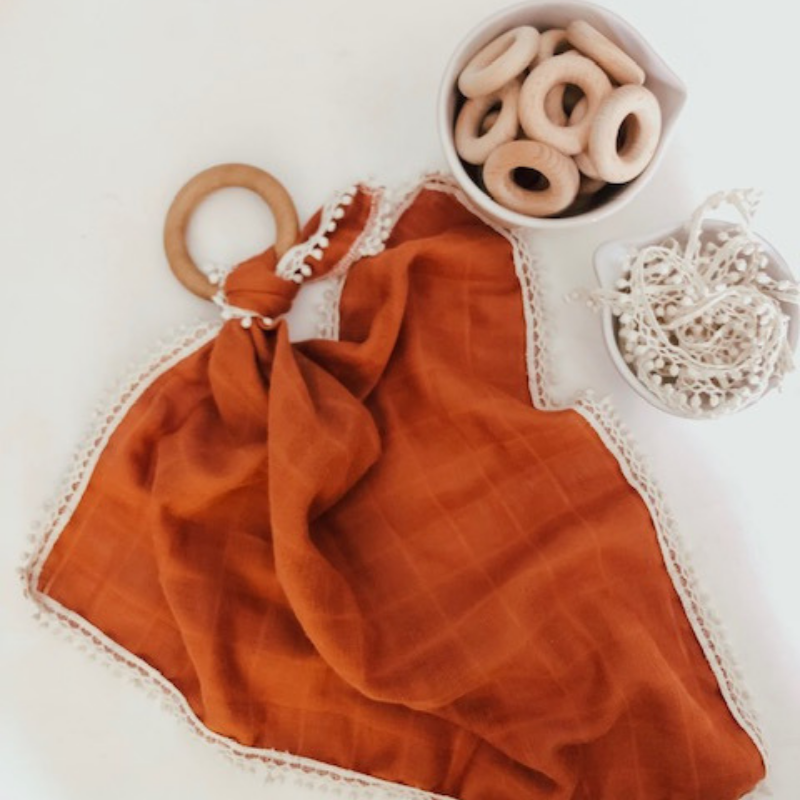 Rust Gauze Lovey with Teething Ring,Pretty Please Boutique  - Wild Dill