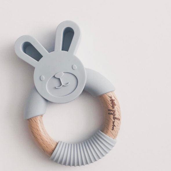 Bunny Ring Teether - Riverstone Grey,Pretty Please Boutique  - Wild Dill