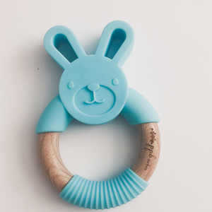 Bunny Ring Teether - Sea Blue,Pretty Please Boutique  - Wild Dill