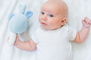 Narwhal Fair Trade Knitted Baby Rattle,Pebble  - Wild Dill