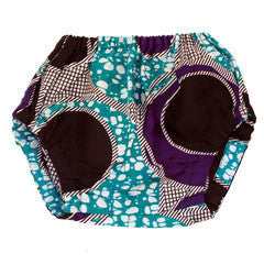 Purple & Blue Circles African Wax print Baby Bloomers,Dsenyo  - Wild Dill