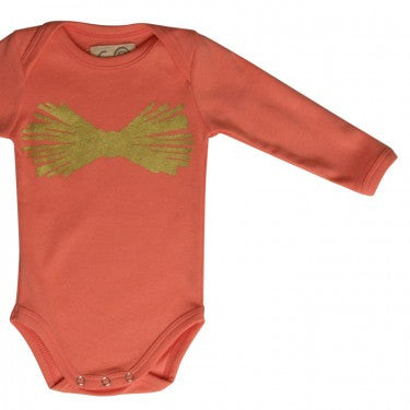 Metalic Pink Bow Onesie,Gro  - Wild Dill