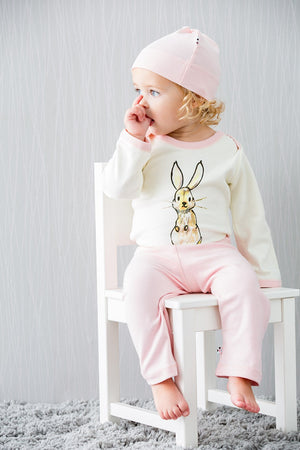Pink Bunny - Organic Baby Winter Jumpsuit,Babysoy  - Wild Dill