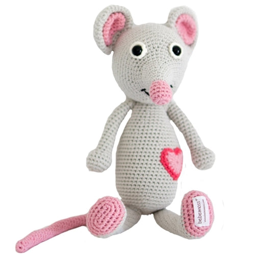 Emma Mouse Organic Stuffed Animal,BebeMoss  - Wild Dill